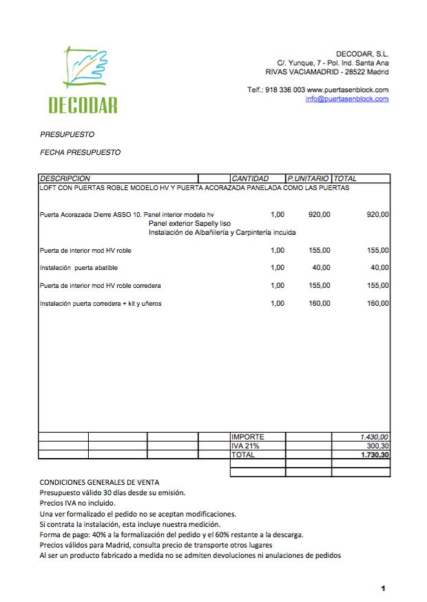 Ejemplo de presupuesto completo de carpinter a para vivienda for Presupuesto reforma vivienda